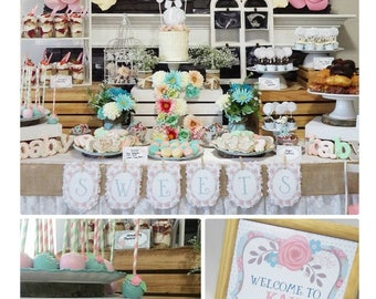 80% OFF | Shabby Chic Baby Shower | Shabby Chic Party Printable | Baby Shower Decorations | Shabby Chic Decorations | Epic Parties by REVO