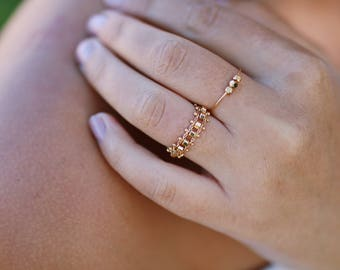 Chain Ruby ring / ring chain / 24 k / gift for her / fashion ring
