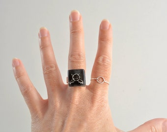 Black dracula ring, Halloween jewelry, Cute bat ring, Ready to ship, Statement ring, Kids drawing jewelry, Unique gothic ring