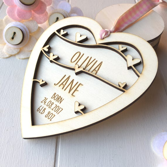 New Baby Girl Keepsake gift - personalised Baby gift - New born gift - keepsake heart