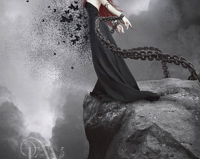 Gothic fantasy surreal woman with butterflies art print