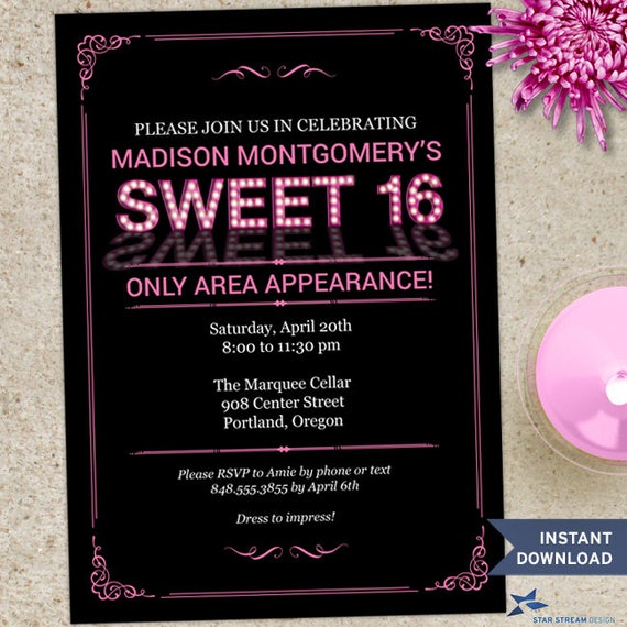 Printable Pink Marquee Lights Sweet 16 Party Invitation Template