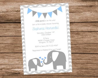 Elephant Baby Shower Invitation, Elephant Baby Shower, Blue and Grey, Boy Baby Shower, Blue and Gray Elephant