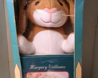 Velveteen Rabbit brown white plush & story book in original box by Barnes Noble