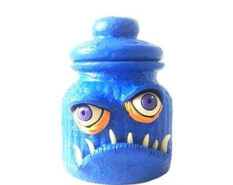 Monster stash jar with glow in the dark teeth, blue mixed media jar