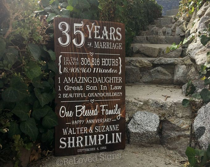 35th Anniversary Personalized Gift, 35 Year Anniversary, Custom Wood Sign, Gifts for Parents