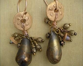 Bronze Protective Shields Raku Earrings