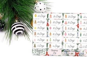 Christmas Planner Stickers / Simple Christmas Countdown / Planner Stickers / Erin Condren / Happy Planner / Traveler's Notebook / Agenda