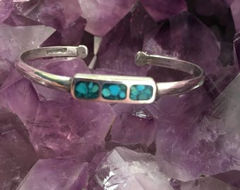 Vintage Southwestern 925 Sterling Silver Turquoise Chip Inlay Cuff Bracelet