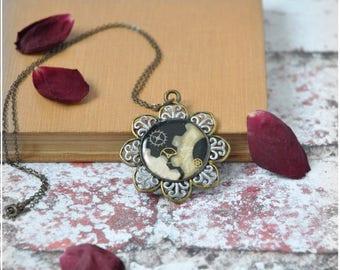 Fleur de Temps Filigree Steampunk Pendant Necklace, OOAK Handmade Watch Parts and Florals Romantic Pendant in Steampunk Style