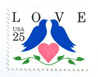 10 Unused Blue Love Birds Postage Stamps // Blue Bird Heart Postage Stamps for Mailing