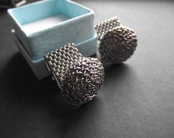 SILVER ROPE CUFFLINKS,Round Silver Cufflinks with Mesh,Mens Cufflinks,Mens Accessories,Evening Attire,Gift for Men,Men's Formal Cufflinks