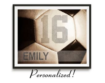 Personalized soccer art, Girls soccer gifts, Sports gift, Team gifts, Teen birthday, Man cave art, Sports art, Kids room decor // Soccer