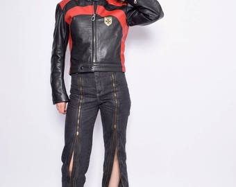 Vintage 80's Motorcycle Racer's Leather Jacket /Color Block Biker Jacket -  Size Small