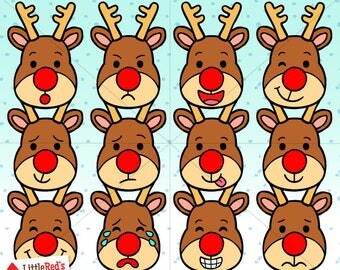 Reindeer Emoticon Faces Clip Art and Lineart - personal and commercial use