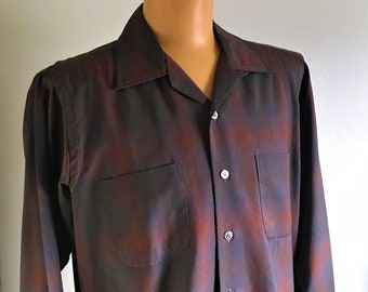 1950'S PLAID WOOLSHIRE Supreme Worsted Wool Shirt