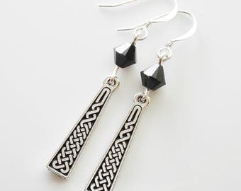 Silver Celtic Braid Drop with Swarovski Beads Earrings