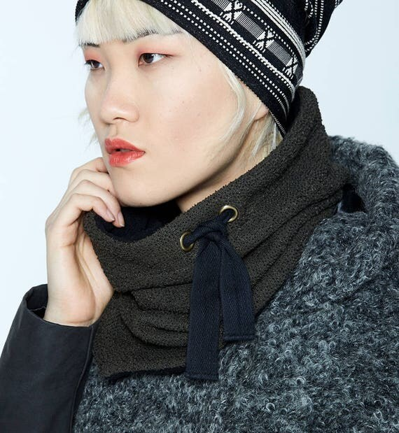 MYSKI - plain neckwarmer for winter, scarf lined in polar for womens - green khaki