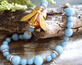 blue agate necklace, repurposed necklace,, dragonfly necklace, bijoux geisha necklace, vintage inspired necklace, one of a kind necklace