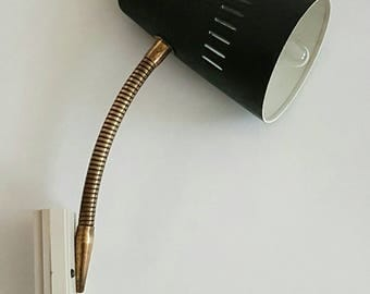 1960s Vintage Gooseneck Wall Lamp - Dark Green Floor lamp - Mid Century Wall Lamp -  Atomic Design - Hammer Tone Effect