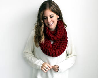 Chunky Knit Scarf, Cowl Knitted Scarves Cranberry- Bowie Cowl