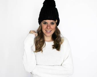 Black Knit Hat Pom Pom Bobble Beanie Knitted- Pokomoke Hat
