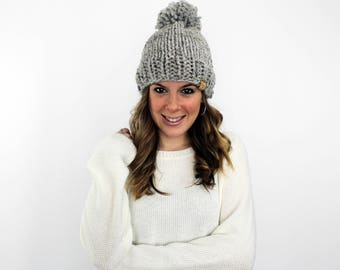 Bobble Hat Knit Slouchy Beanie Grey- Pokomoke Hat