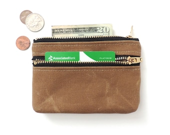 Waxed Canvas Wallet Coin Purse Double Zipper Pouch Tan