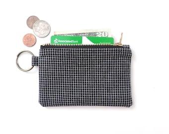 Keychain Wallet Coin Purse Zipper Pouch Black Grid