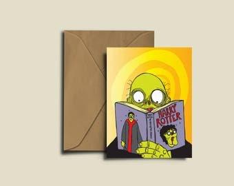 Harry Rotter Zombie Wizard Harry Potter Birthday Congratulations Valentines Exam A6 greeting Card.
