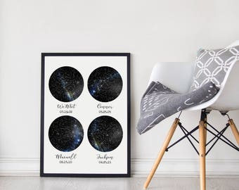 Custom Constellation Map 4 Sky Unframed Poster, Under This Sky Poster, New Baby Gift, Night Sky Print, Large Wall Decor