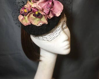 Orchid fascinator, veiled fascinator, unique wedding hat, vintage hat, bespoke fascinator, funeral orchid
