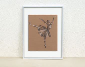 Sketch of a Ballerina. Ballet art. Ballerina illustration. Ballet Dancer drawing. Ballet drawing. Charcoal drawing. Original artwork. 8x10