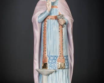 "RARE Saint Eligius Antique Bisque Porcelain Statue St Eloy Figurine Eloi Figure Loye 11"" Large _"