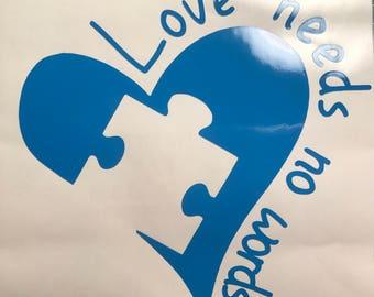 Love needs no words - Autism decal- autism bumper sticker - autism love