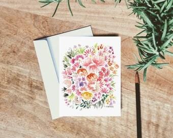 Technicolor Watercolor Floral Card - single folded card