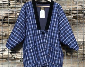Vintage Hanten Kimono Jacket Blue Japanese Padded Quilted Kimono Gift for Her Gift for Him