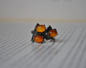 Vintage Amber Sterling Ring - 1970s Baltic Amber Silver Ring