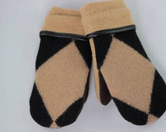 SMALL Brown and Black Recycled Wool Sweater Mittens Argyle Mittens