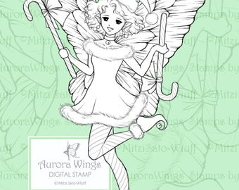 PNG Digital Stamp - Candy Cane Fairy - Christmas Fae in Santa Hat - Holiday Fantasy Line Art for Cards & Crafts by Mitzi Sato-Wiuff