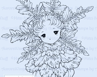 Snowflake Sprite - Aurora Wings Digital Stamp - Christmas Holiday Fairy Image - Fantasy Line Art for Arts and Crafts by Mitzi Sato-Wiuff