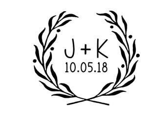 Wedding rubber stamp, name initials stamp, custom rubber stamp, wedding wreath stamp, save the dates, date initials stamp