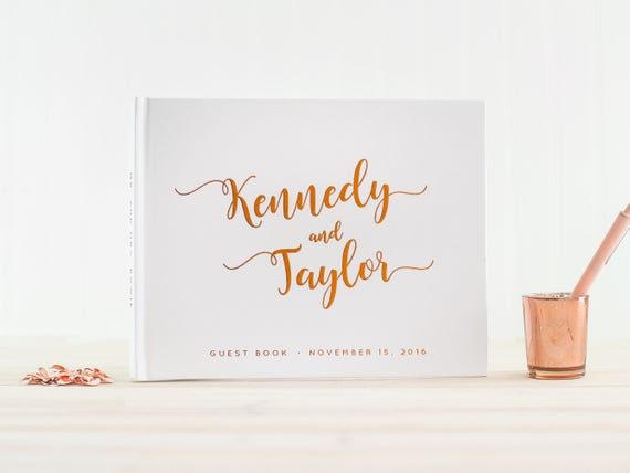 Wedding Guest Book with Real Copper Foil landscape horizontal wedding guestbook personalized hardcover wedding book instant photo book