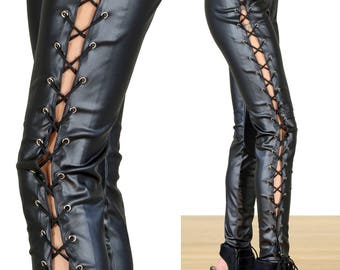 Faux Leather Goth/Punk/Rocker Lace Up Corset Leggings