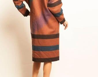 LANVIN 1980's dolman sleeves wool day dress