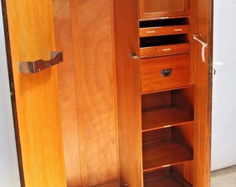 Vintage Locking Wardrobe Gentlemans Closet Oak Interior Drawers mirrored cabinet Insured safe nationwide shipping available