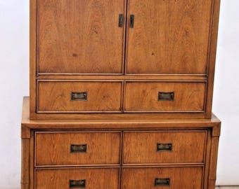 Vintage Century Furniture Campaign Faux Bamboo Dresser Armoire Mid Century Modern Safe Nationwide shipping available Please call for quotes