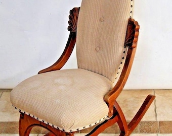 Vintage French Country Rocking Chair Fabric Petite Size By Pelham Shell Leckie Insured nationwide shipping available please call for rates