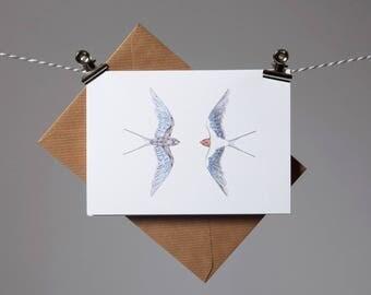 Birds Art Greetings Card- Swallow Card - Bird Card - Blue Bird Art - Swallow Bird - swift - Perfect Valentines day card