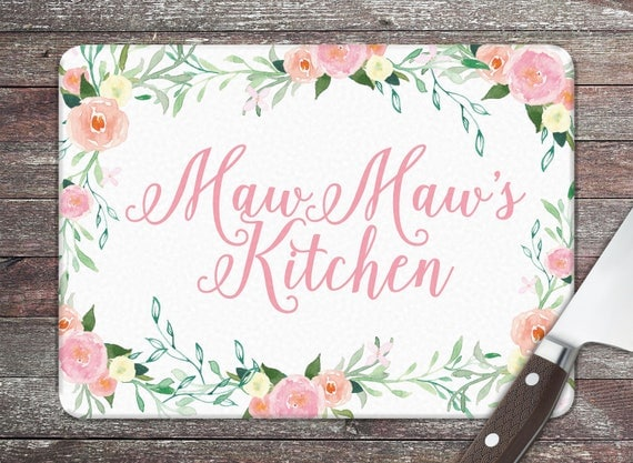 Christmas Gifts for Grandma Maw Maw Personalized Glass Cutting Board Custom Monogrammed Gifts for Mom Grandmother Wildflowers Floral